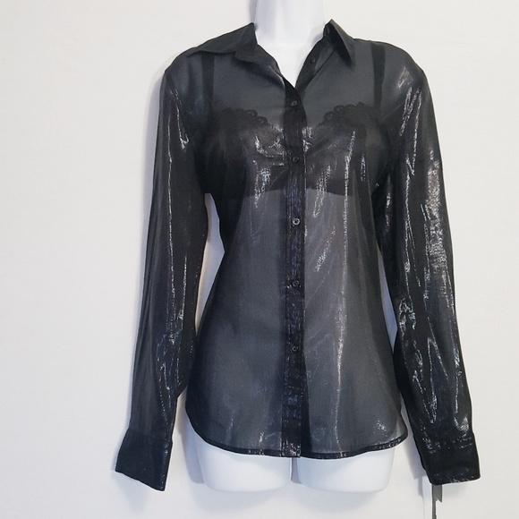 2afb6849e319c7 Lauren Ralph Lauren Tops | Black Metallic Silk Top M | Poshmark